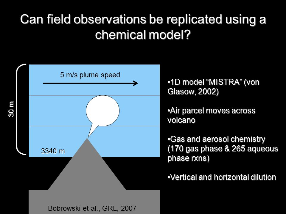5 m/s plume speed 3340 m 30 m Can field observations be replicated using a chemical model.