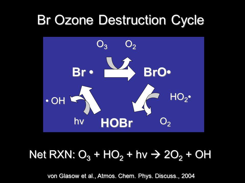 Br Ozone Destruction Cycle BrO HOBr Br Br HO 2 HO 2 O2O2O2O2hv OH O3O3O3O3 O2O2O2O2 Net RXN: O 3 + HO 2 + hv  2O 2 + OH von Glasow et al., Atmos.