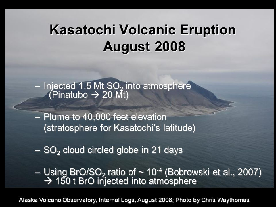 Kasatochi Volcanic Eruption August 2008 August 2008 –Injected 1.5 Mt SO 2 into atmosphere (Pinatubo  20 Mt) –Plume to 40,000 feet elevation (stratosphere for Kasatochi's latitude) –SO 2 cloud circled globe in 21 days –Using BrO/SO 2 ratio of ~ 10 -4 (Bobrowski et al., 2007)  150 t BrO injected into atmosphere Alaska Volcano Observatory, Internal Logs, August 2008; Photo by Chris Waythomas