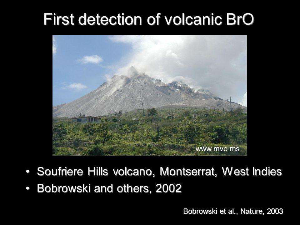 First detection of volcanic BrO Soufriere Hills volcano, Montserrat, West IndiesSoufriere Hills volcano, Montserrat, West Indies Bobrowski and others, 2002Bobrowski and others, 2002 www.mvo.ms Bobrowski et al., Nature, 2003