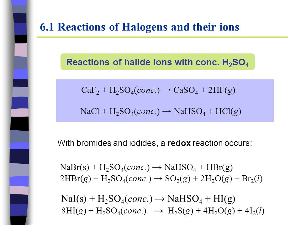 6.1 Reactions of Halogens and their ions Reactions of halide ions with conc. H 2 SO 4 CaF 2 + H 2 SO 4 (conc.) → CaSO 4 + 2HF(g) NaCl + H 2 SO 4 (conc