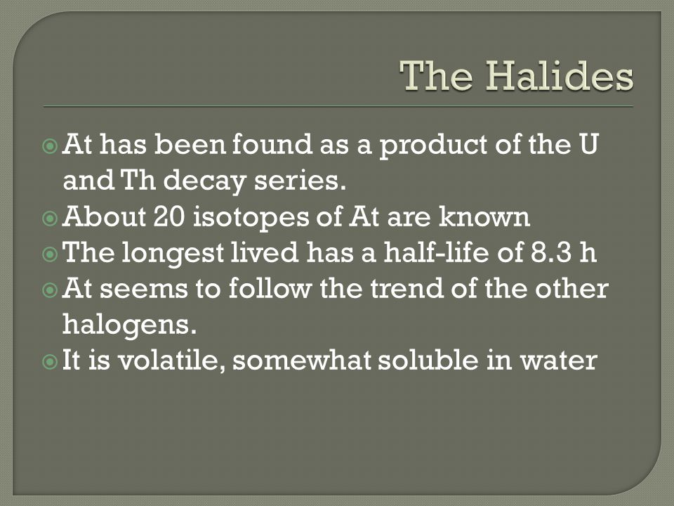  At has been found as a product of the U and Th decay series.