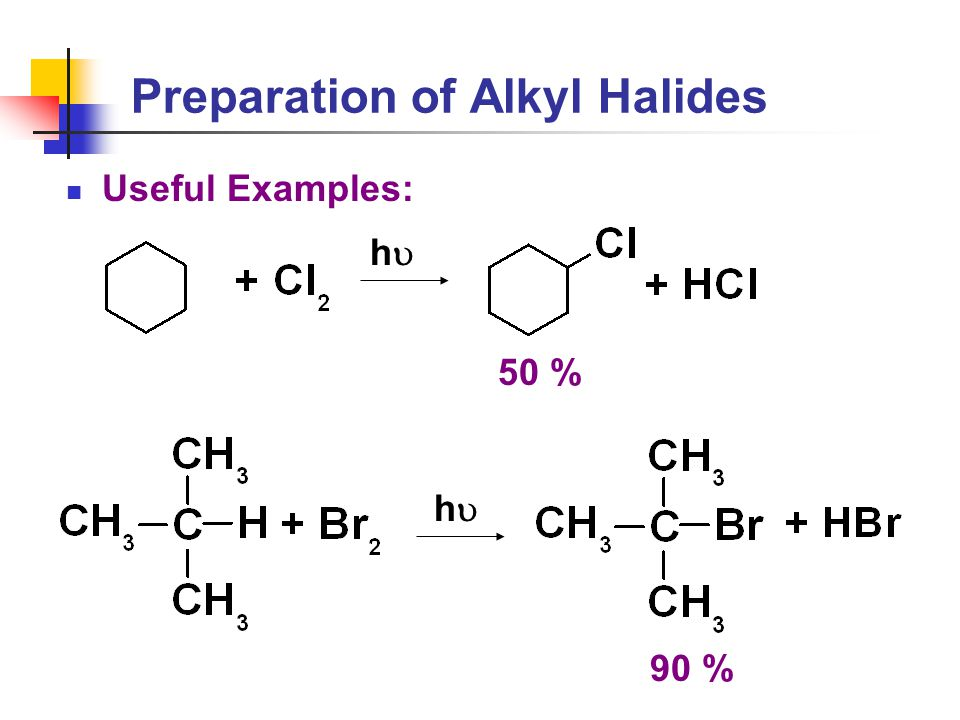 Preparation of Alkyl Halides Useful Examples: hh hh 50 % 90 %