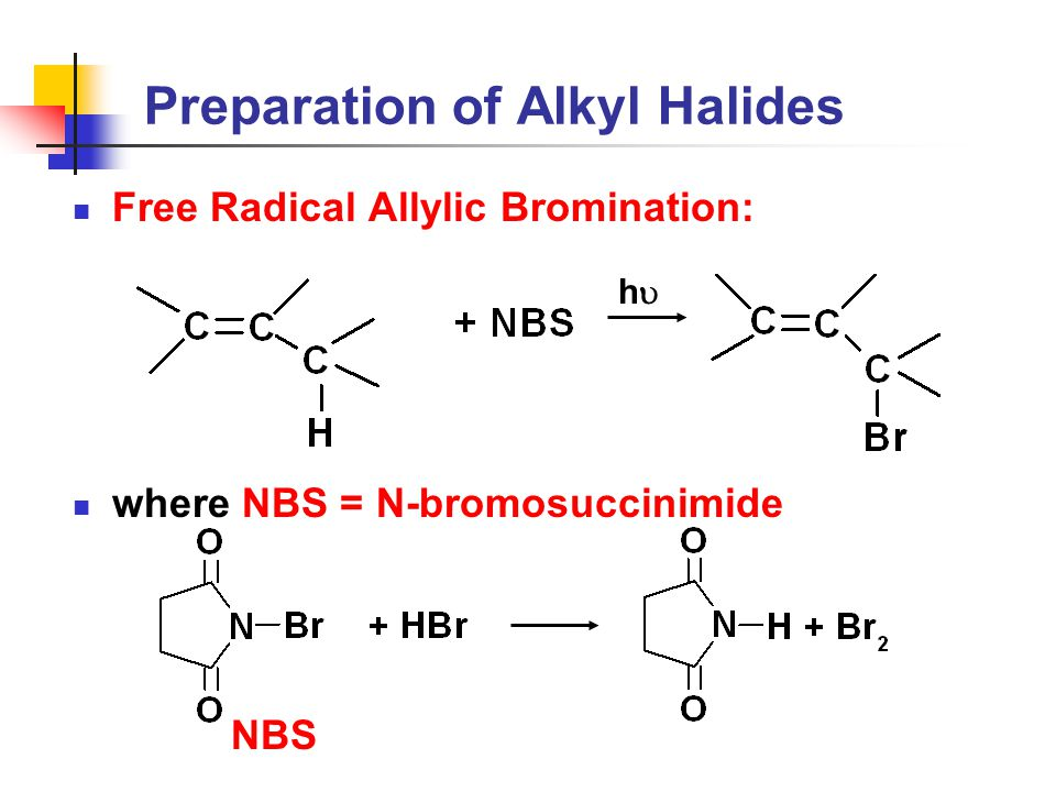 Preparation of Alkyl Halides Free Radical Allylic Bromination: where NBS = N-bromosuccinimide hh NBS