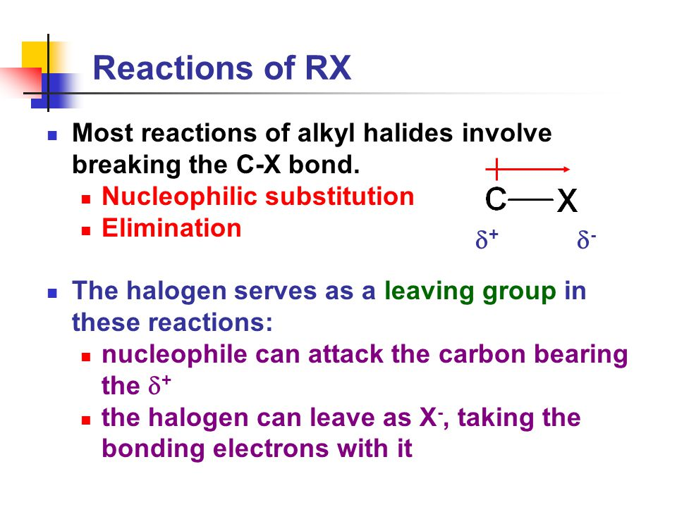Reactions of RX Most reactions of alkyl halides involve breaking the C-X bond.