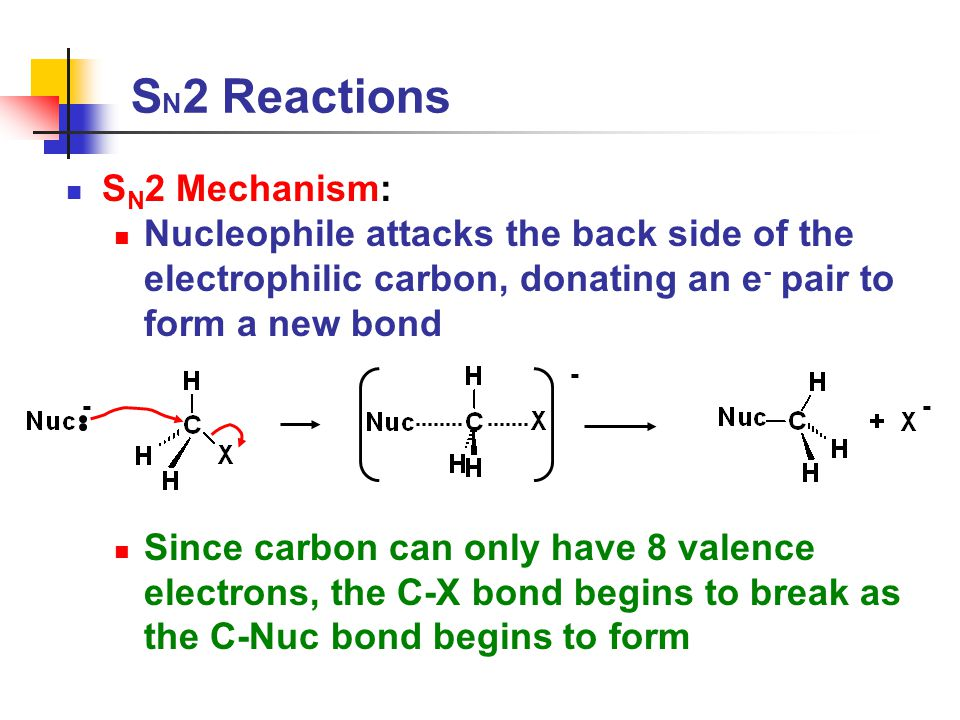 S N 2 Reactions S N 2 Mechanism: Nucleophile attacks the back side of the electrophilic carbon, donating an e - pair to form a new bond Since carbon can only have 8 valence electrons, the C-X bond begins to break as the C-Nuc bond begins to form -- -