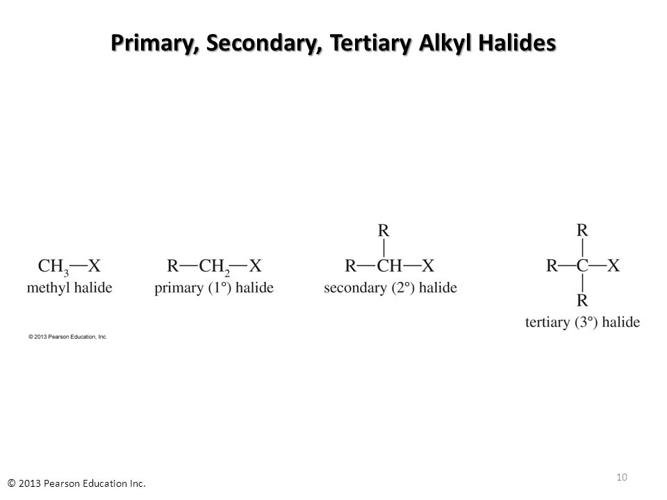 Primary, Secondary, Tertiary Alkyl Halides 10 © 2013 Pearson Education Inc.