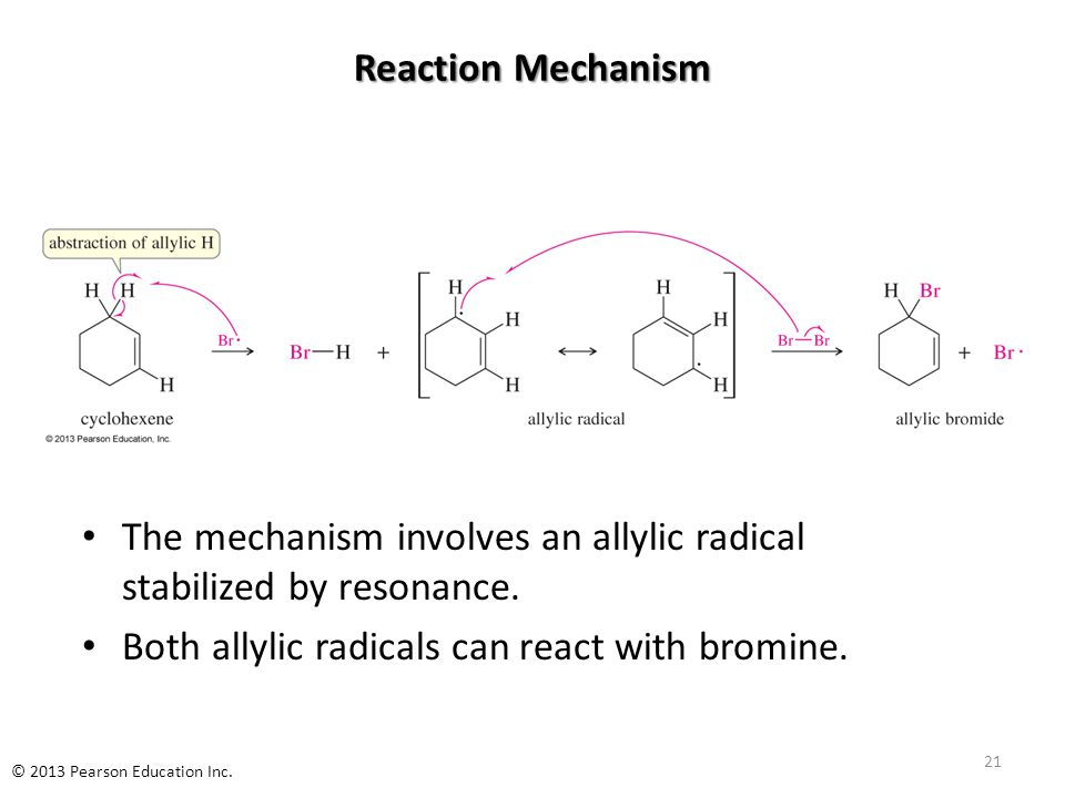 Reaction Mechanism The mechanism involves an allylic radical stabilized by resonance. Both allylic radicals can react with bromine. 21 © 2013 Pearson