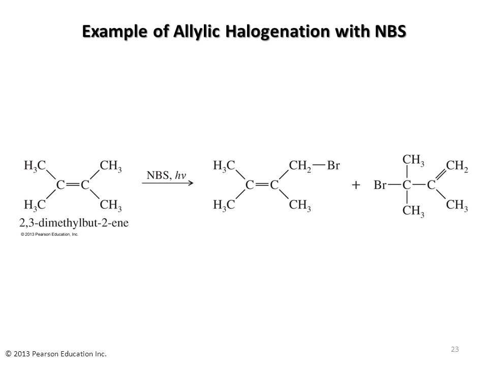 Example of Allylic Halogenation with NBS File Name: AAAKWEA0 23 © 2013 Pearson Education Inc.