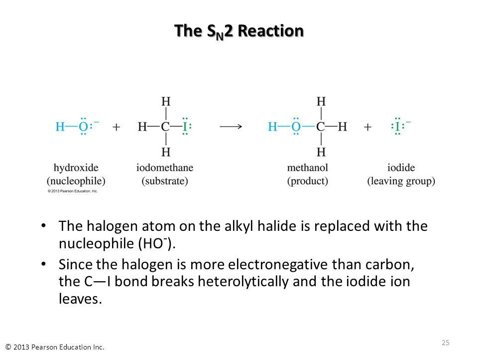 The S N 2 Reaction The halogen atom on the alkyl halide is replaced with the nucleophile (HO - ).