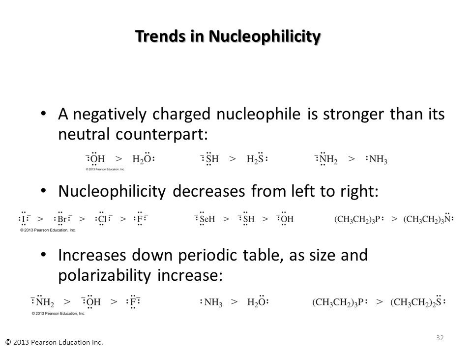 Trends in Nucleophilicity A negatively charged nucleophile is stronger than its neutral counterpart: Nucleophilicity decreases from left to right: Increases down periodic table, as size and polarizability increase: 32 © 2013 Pearson Education Inc.
