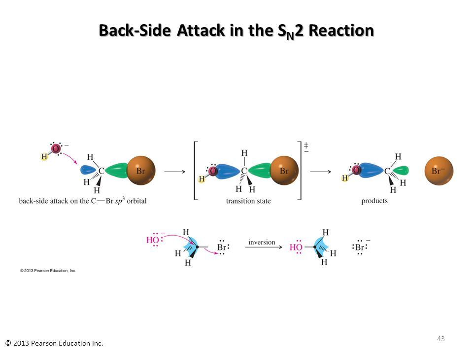 Back-Side Attack in the S N 2 Reaction 43 © 2013 Pearson Education Inc.