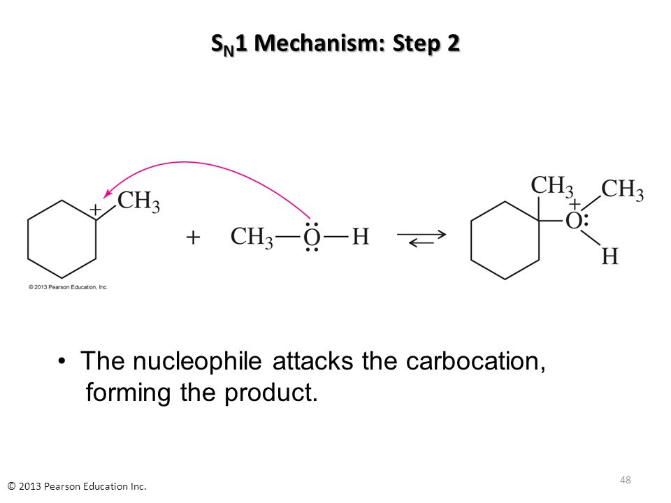 S N 1 Mechanism: Step 2 The nucleophile attacks the carbocation, forming the product.