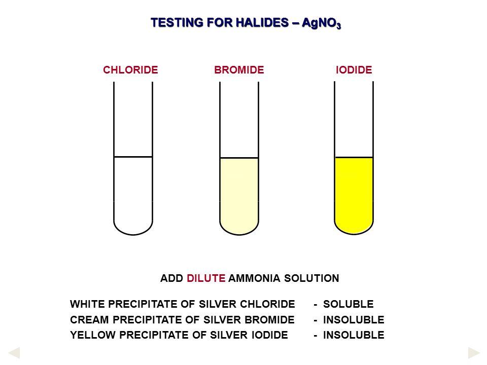 ADD DILUTE AMMONIA SOLUTION WHITE PRECIPITATE OF SILVER CHLORIDE - SOLUBLE CREAM PRECIPITATE OF SILVER BROMIDE - INSOLUBLE YELLOW PRECIPITATE OF SILVE
