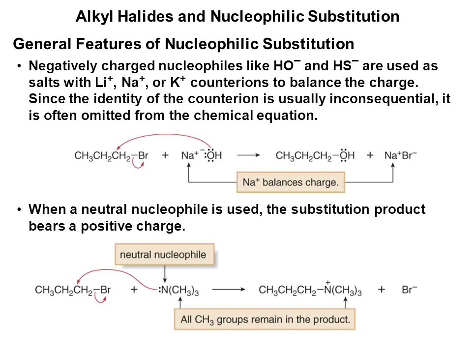 Alkyl Halides and Nucleophilic Substitution Negatively charged nucleophiles like HO ¯ and HS ¯ are used as salts with Li +, Na +, or K + counterions t