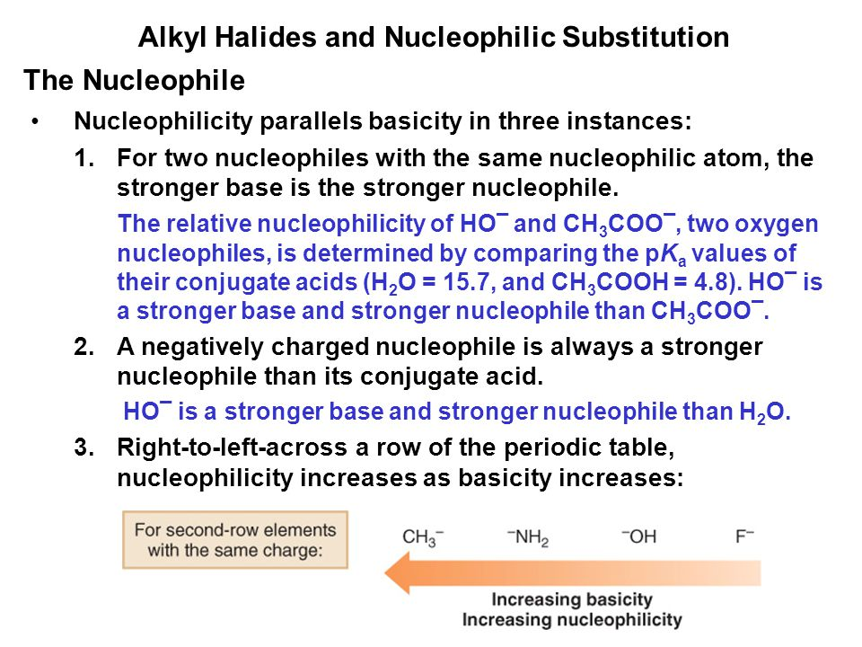 Alkyl Halides and Nucleophilic Substitution Nucleophilicity parallels basicity in three instances: 1.For two nucleophiles with the same nucleophilic a