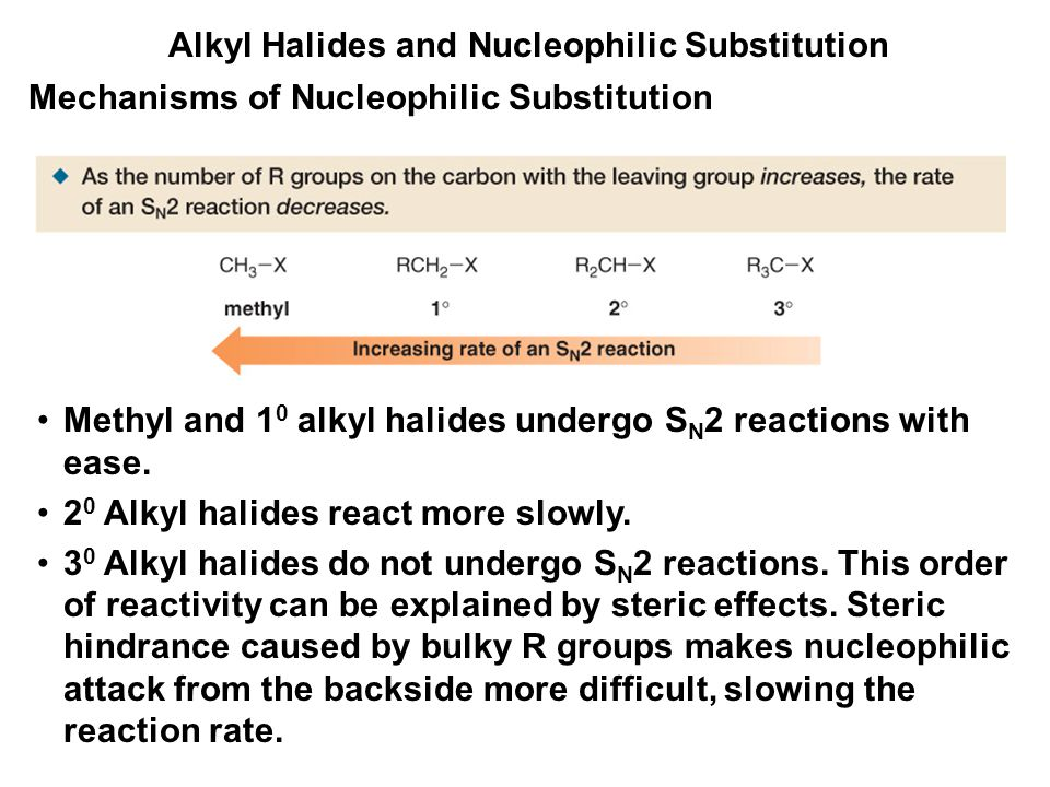 Alkyl Halides and Nucleophilic Substitution Mechanisms of Nucleophilic Substitution Methyl and 1 0 alkyl halides undergo S N 2 reactions with ease. 2