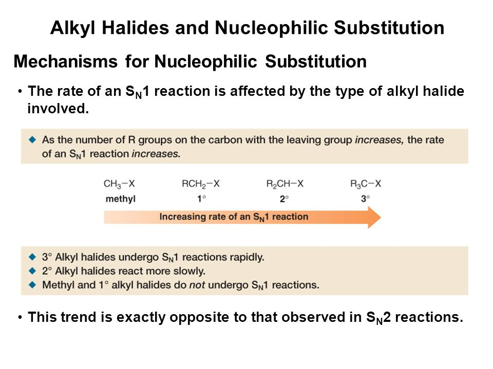 Alkyl Halides and Nucleophilic Substitution Mechanisms for Nucleophilic Substitution The rate of an S N 1 reaction is affected by the type of alkyl ha