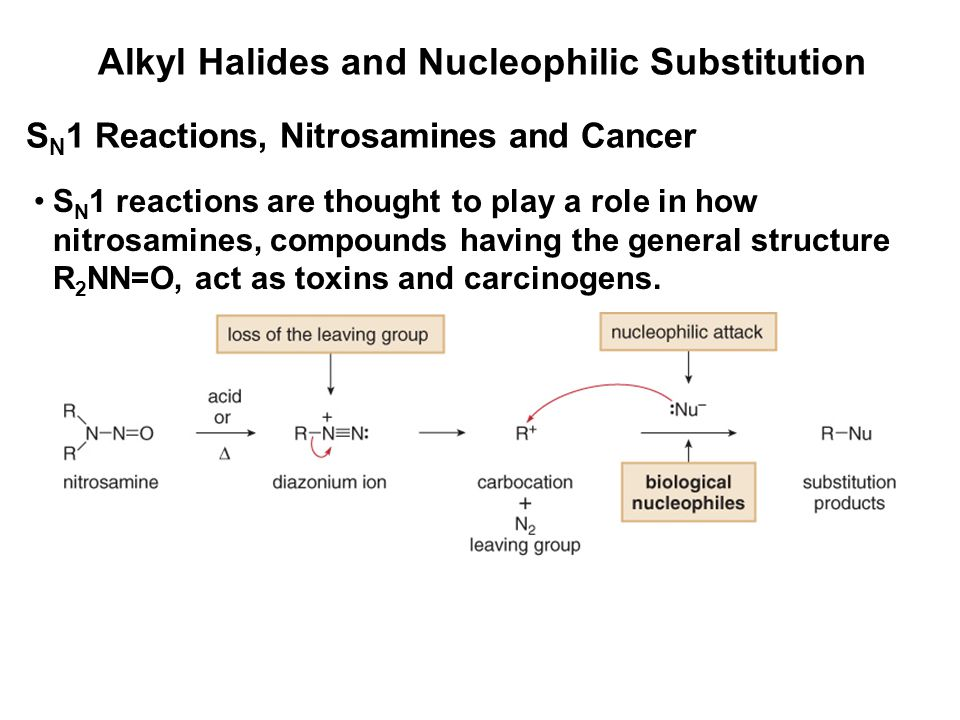 Alkyl Halides and Nucleophilic Substitution S N 1 Reactions, Nitrosamines and Cancer S N 1 reactions are thought to play a role in how nitrosamines, c
