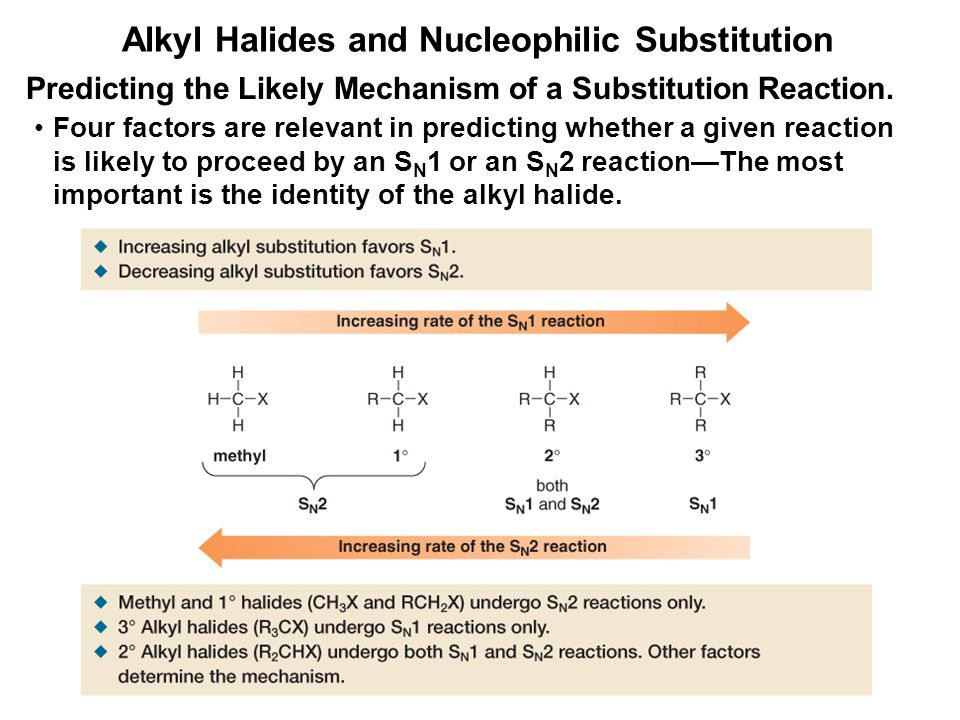 Alkyl Halides and Nucleophilic Substitution Predicting the Likely Mechanism of a Substitution Reaction. Four factors are relevant in predicting whethe