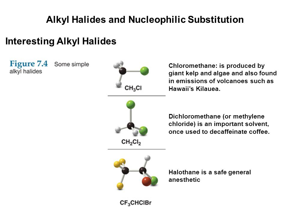 Alkyl Halides and Nucleophilic Substitution Interesting Alkyl Halides Chloromethane: is produced by giant kelp and algae and also found in emissions o
