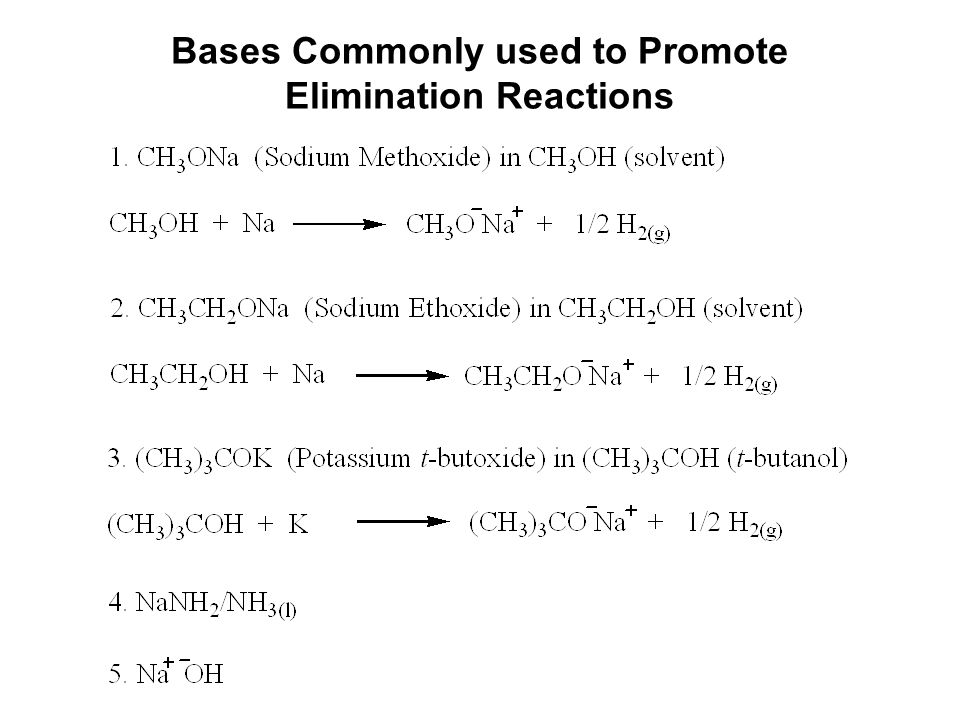 Bases Commonly used to Promote Elimination Reactions