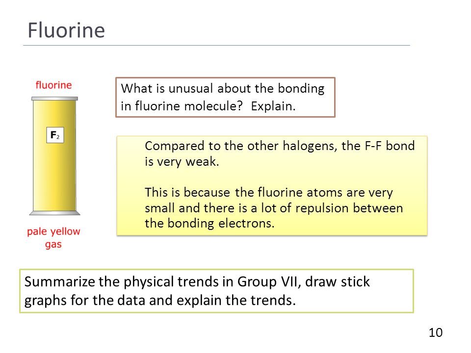 Fluorine 10 What is unusual about the bonding in fluorine molecule.