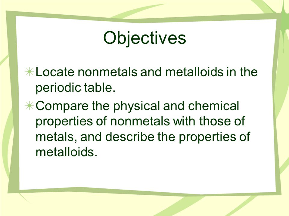 Vocabulary Words Nonmetal Diatomic molecule Halogen family Noble gas Metalloid Semiconductor