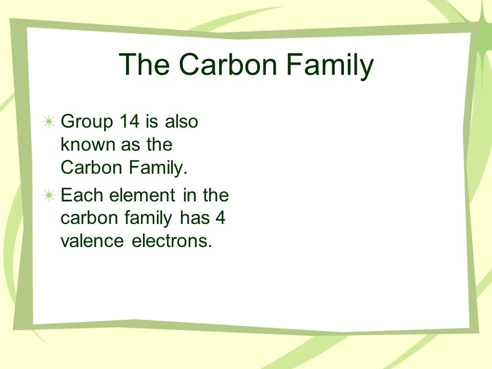 The Nitrogen Family Group 15 is also known as the Nitrogen Family.