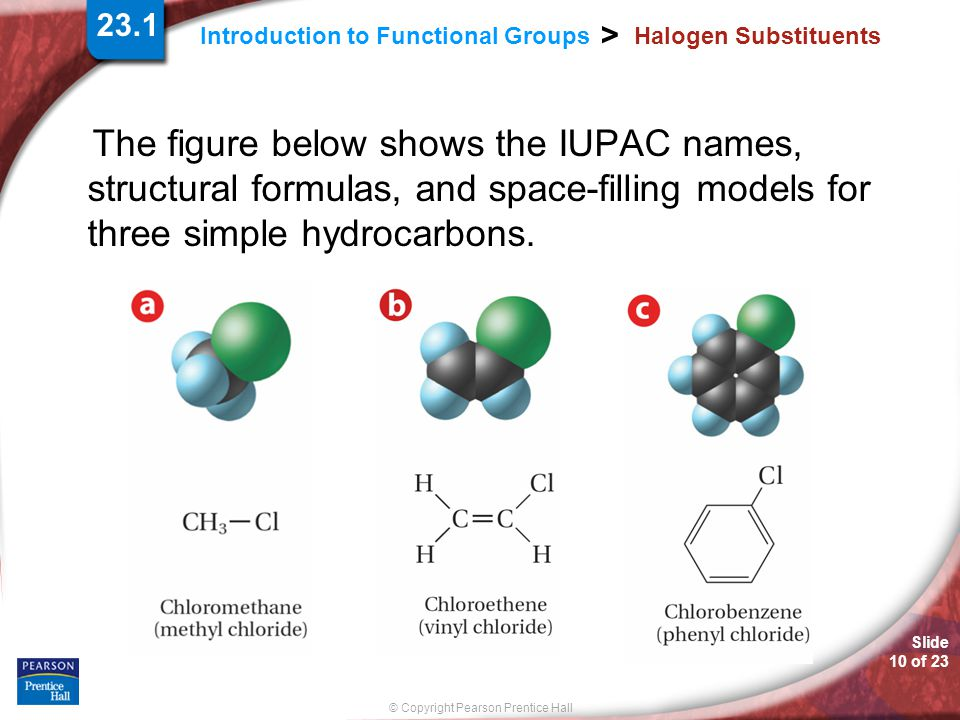 Slide 10 of 23 © Copyright Pearson Prentice Hall Introduction to Functional Groups > Halogen Substituents The figure below shows the IUPAC names, stru