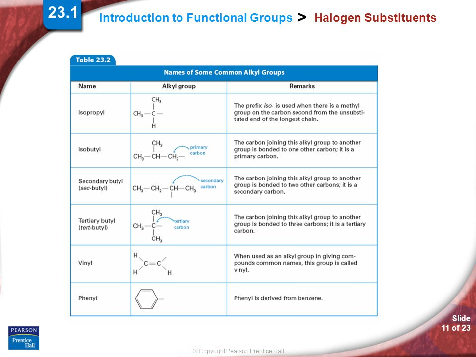 Slide 11 of 23 © Copyright Pearson Prentice Hall Introduction to Functional Groups > Halogen Substituents 23.1