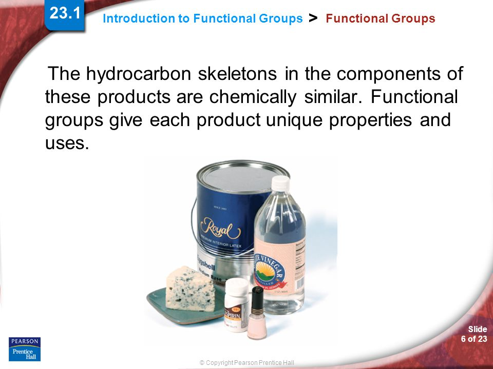 Slide 6 of 23 © Copyright Pearson Prentice Hall Introduction to Functional Groups > Functional Groups The hydrocarbon skeletons in the components of t