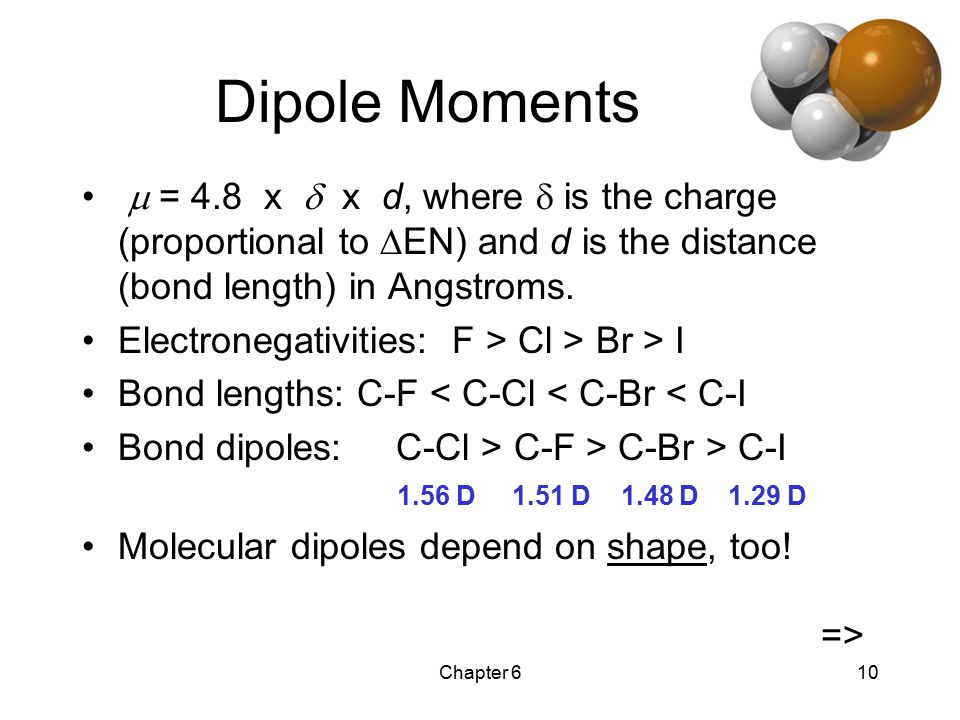 Chapter 610 Dipole Moments  = 4.8 x  x d, where  is the charge (proportional to  EN) and d is the distance (bond length) in Angstroms.