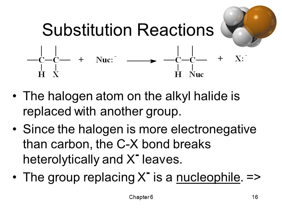 Chapter 616 Substitution Reactions The halogen atom on the alkyl halide is replaced with another group.