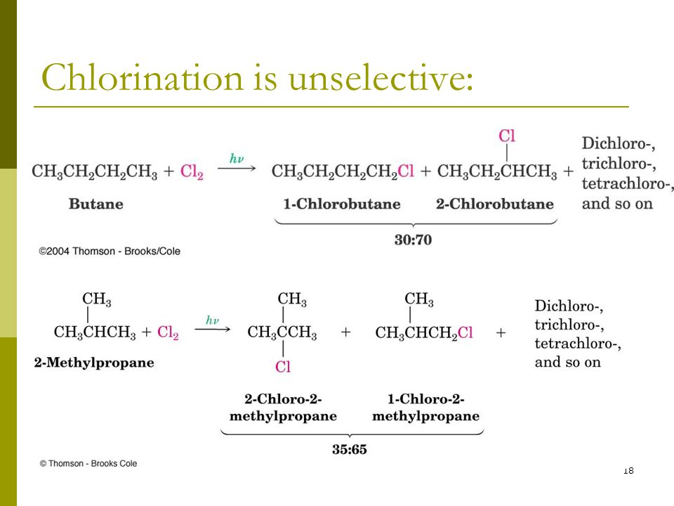 18 Chlorination is unselective: