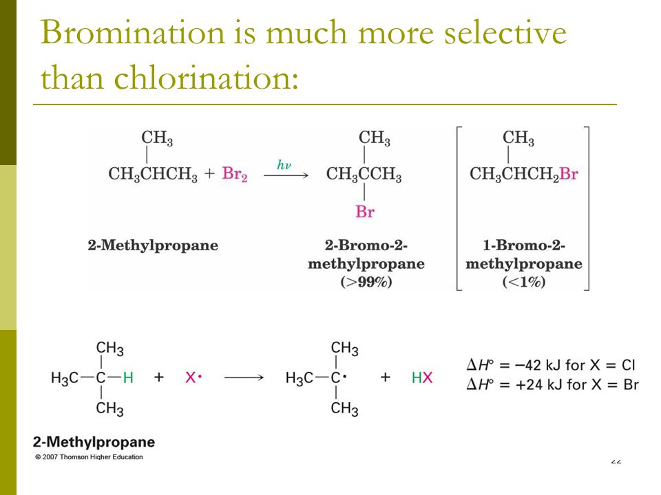 Bromination is much more selective than chlorination: 22