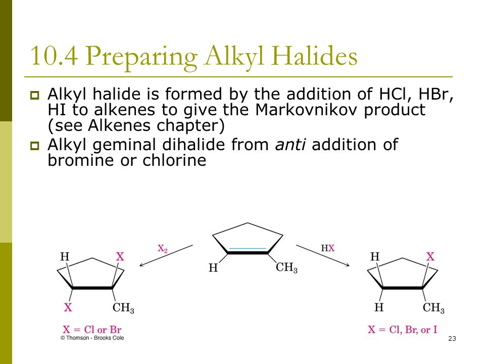 23 10.4 Preparing Alkyl Halides  Alkyl halide is formed by the addition of HCl, HBr, HI to alkenes to give the Markovnikov product (see Alkenes chapt