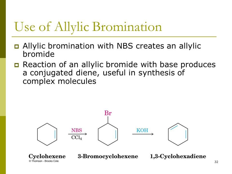 32 Use of Allylic Bromination  Allylic bromination with NBS creates an allylic bromide  Reaction of an allylic bromide with base produces a conjugat