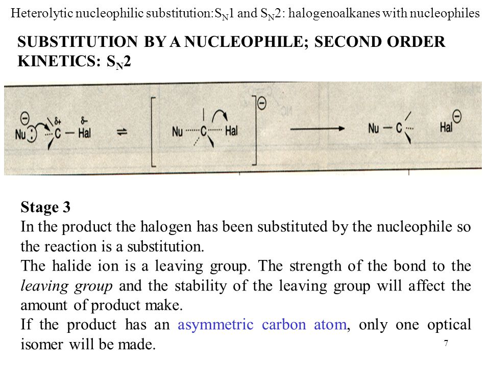 8 Heterolytic nucleophilic substitution:S N 1 and S N 2: halogenoalkanes with nucleophiles Words heterolytic nucleophilic substitution halogenoalkane inductive effect carbocation substitute; substitution intermediate asymmetric optical isomer racemic Words and Expressions