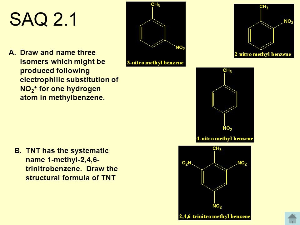 SAQ 2.1 A.Draw and name three isomers which might be produced following electrophilic substitution of NO 2 + for one hydrogen atom in methylbenzene.