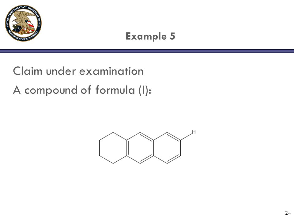 24 Example 5 Claim under examination A compound of formula (I):.