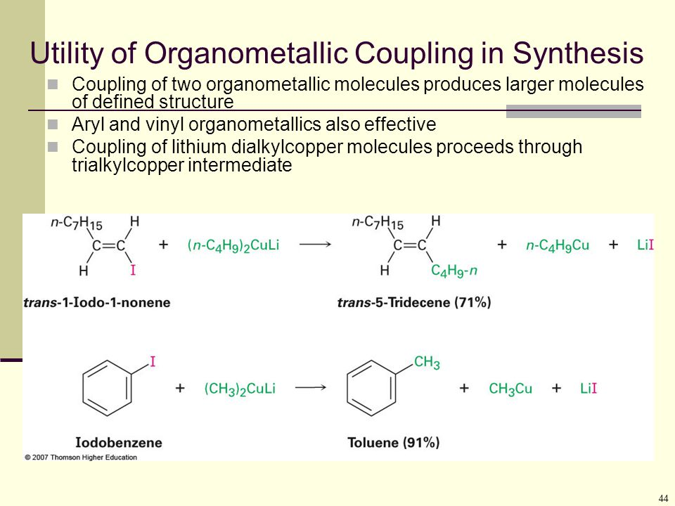 44 Utility of Organometallic Coupling in Synthesis Coupling of two organometallic molecules produces larger molecules of defined structure Aryl and vi