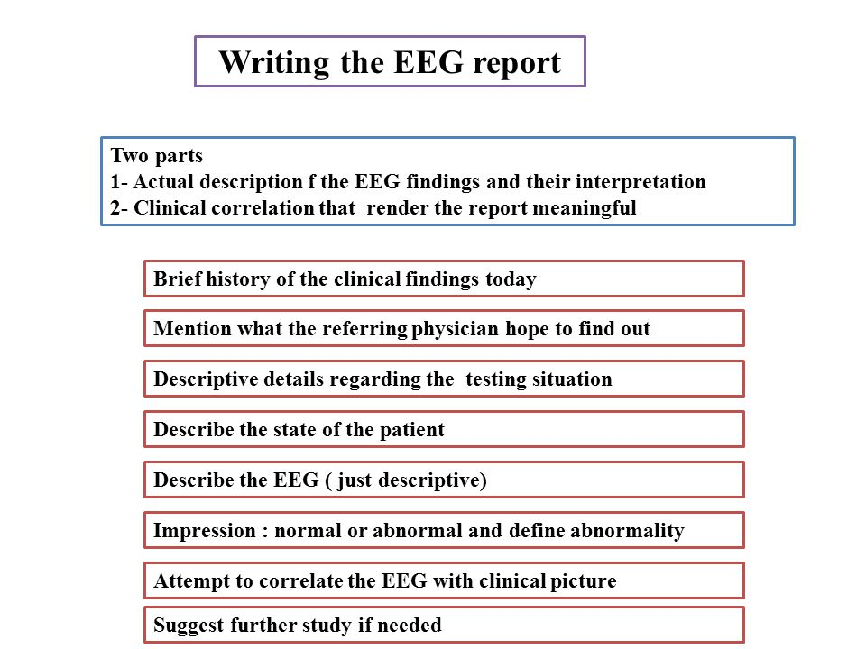 Writing the EEG report Two parts 1- Actual description f the EEG findings and their interpretation 2- Clinical correlation that render the report meaningful Attempt to correlate the EEG with clinical picture Brief history of the clinical findings today Mention what the referring physician hope to find out Descriptive details regarding the testing situation Describe the state of the patient Describe the EEG ( just descriptive) Impression : normal or abnormal and define abnormality Suggest further study if needed