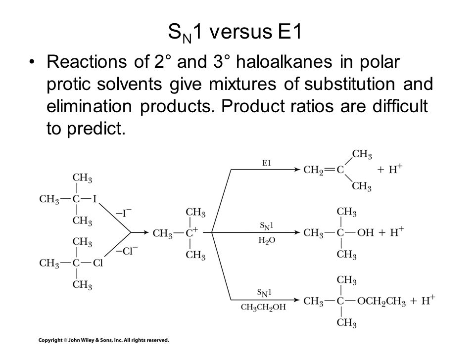 S N 1 versus E1 Reactions of 2° and 3° haloalkanes in polar protic solvents give mixtures of substitution and elimination products. Product ratios are
