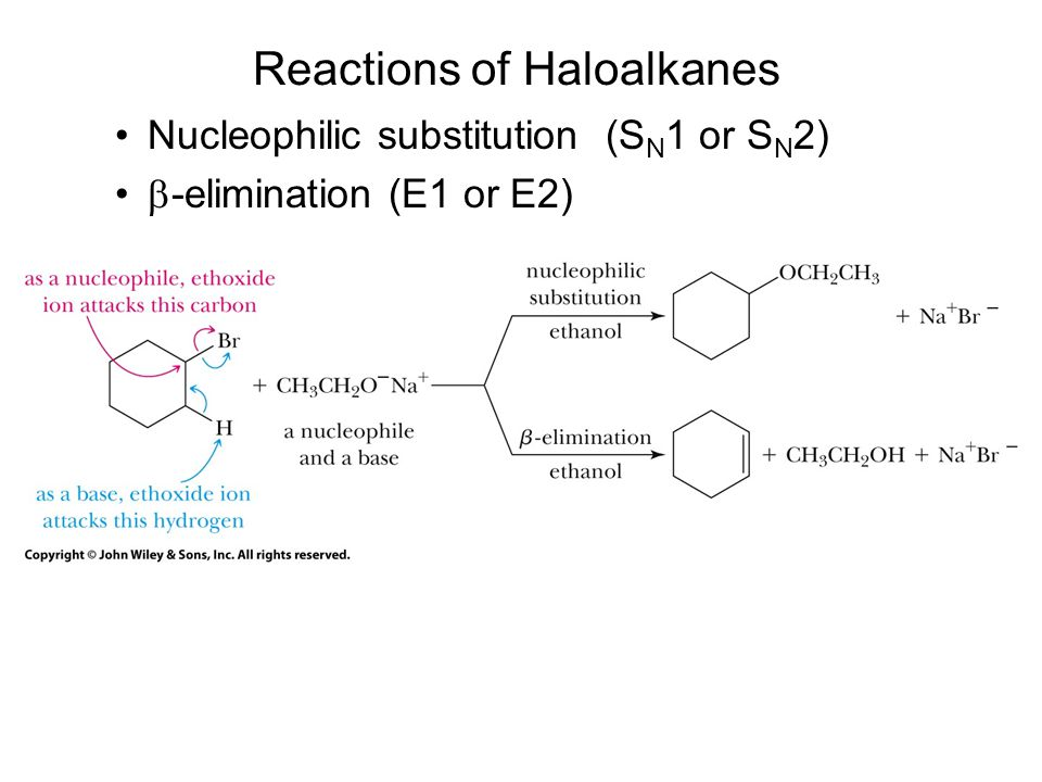 Reactions of Haloalkanes Nucleophilic substitution (S N 1 or S N 2)  -elimination (E1 or E2)