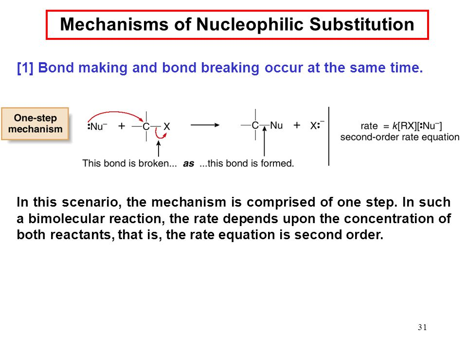 31 Mechanisms of Nucleophilic Substitution In this scenario, the mechanism is comprised of one step. In such a bimolecular reaction, the rate depends