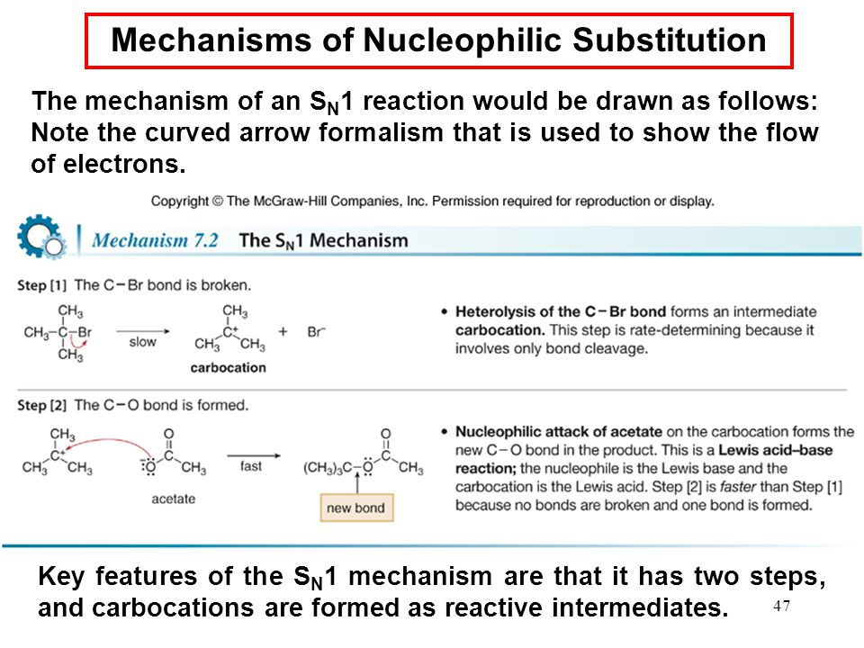 47 The mechanism of an S N 1 reaction would be drawn as follows: Note the curved arrow formalism that is used to show the flow of electrons. Key featu