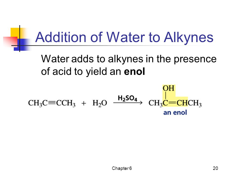 Chapter 620 Addition of Water to Alkynes Water adds to alkynes in the presence of acid to yield an enol