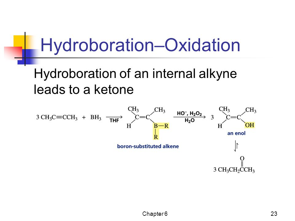Chapter 623 Hydroboration–Oxidation Hydroboration of an internal alkyne leads to a ketone