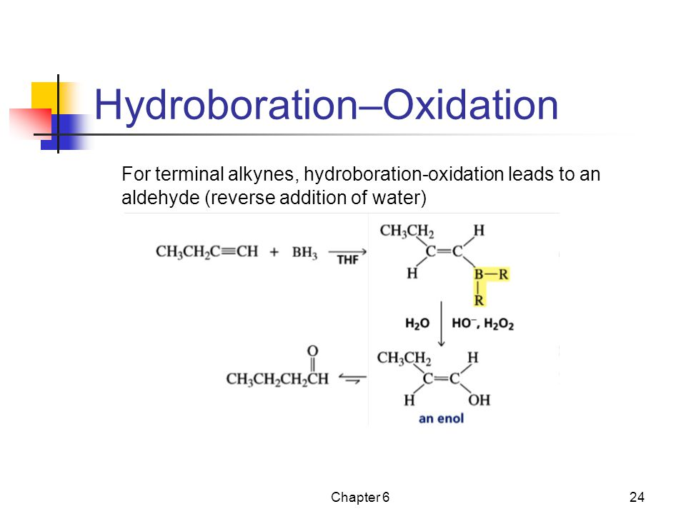 Chapter 624 Hydroboration–Oxidation For terminal alkynes, hydroboration-oxidation leads to an aldehyde (reverse addition of water)